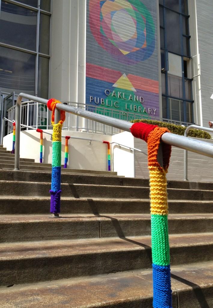 Railing cozies bursting with Pride