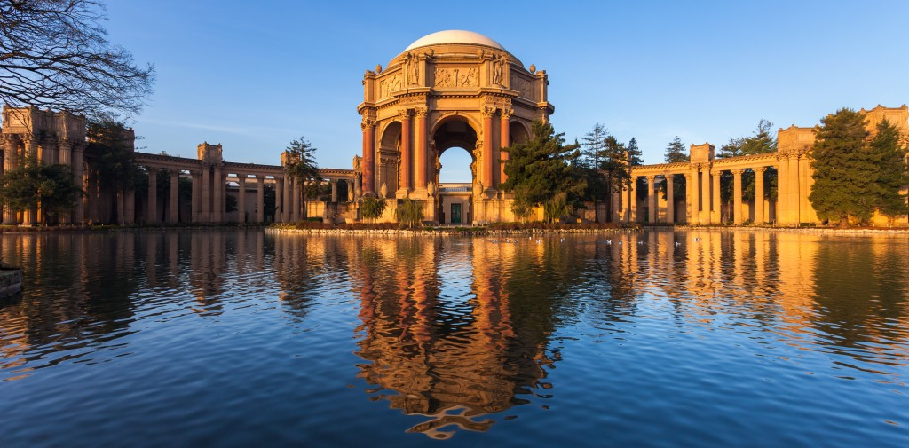 Sun rising over San Francisco's Palace of Fine Arts